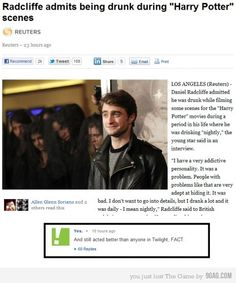 """Best response I've seen to """"Drunk Potter"""" yet! that comment made me laugh!"""