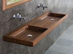 Double wooden washbasin countertop NINA | Double washbasin countertop - KARPENTER
