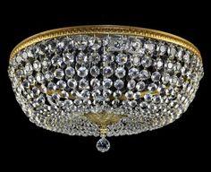 "LARGE 24"" Flush Mount Chandelier Crystal Ornate Italian Ceiling Light Vintage"