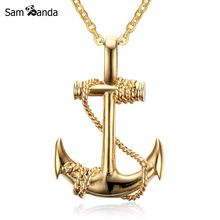 US $3.65 Men Stainless Steel Necklace Gold Colour Plated Titanium Anchor Pendant Jewelry 50mm Length Steel Chain Necklace Gift YK5124. Aliexpress product