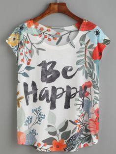 Camiseta floral letras    160802134   7.71€