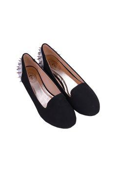 Rivets Back Black Plate Shoes  $35.99  fans love:)  #romwe