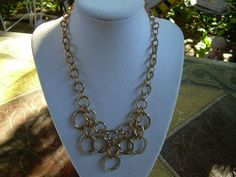 Vintage Anne Klien Gold tone and crystal Pave bib by andraliz, $54.00