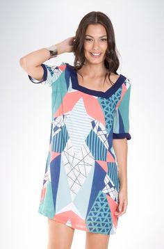 Vestido de Tecido Estampado Frankfurt cód.: 2825856