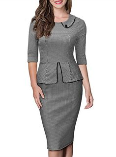 Miusol Womens Retro Neck HoundstoothPrint Peplum 12 Sleeve Formal Pencil Dress Medium -- Check out this great product.