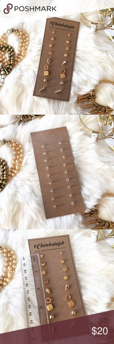 ✨PM EDITOR PICK!✨ - GOLD STUD SET - Set of 9 mini studs in gold. Perfect to wear alone or wear multiple styles at once for multiple ear piercings.  Rubber backs. 3rd photo shows size of each stud.  🎄Perfect Stocking Stuffer! Pair with other jewelry accessories in my closet for 20% off! 🎁 🙅🏼No trades / selling off of Posh.  ✨Offers always welcome!✨ Claire Louise Boutique Jewelry Earrings