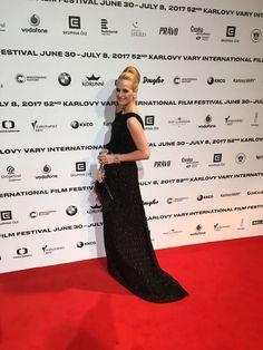 Red carpet moment for Romana Kurucova at Karlove Vary International Film Festival 2017 wearing Ivana Rosova Couture gown #iwearivanarosova.com
