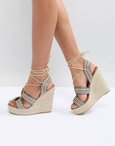 Glamorous Wedge Espadrille Lace Up Heeled Sandal