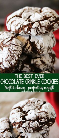 Easy Chocolate Crinkle Cookies are an easy & nostalgic Christmas cookie recipe that makes a great gift for neighbors, holiday parties & friends! Delish! via @KleinworthCo #cookies #holiday #christmas #chocolate #crinkles