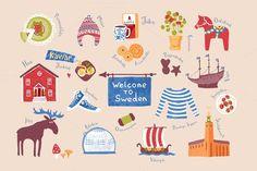 Set of Swedish traditional symbols. Travel Infographics. $6.00