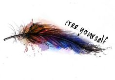 I'm in love I would just add birdsseparating from the feather and flying away! like the idea of awatercolor look for a tat