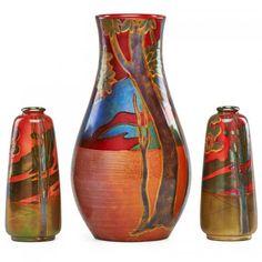 ZSOLNAY Three vases