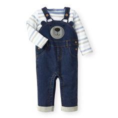 bd71bd5e Koala Baby 2 Piece Denim Bear Face Overall and Bodysuit Set - Babies