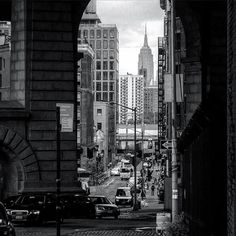 photo by @david_nankervis  View into DUMBO, Brooklyn with the Empire State Building across the river in the distance. DUMBO stands for Down Under the Manhattan Bridge Overpass and this shot is literally under the Manhattan Bridge Overpass so you can't get any more DUMBO than this. #NYC #newyork #newyorkcity #dumbo#brooklyn #empirestatebuilding#icapture_nyc #loves_nyc #newyork_ig#newyork_instagram #seeyourcity #urban#streetview #ptk_bnw #blackandwhite#ptk_streetview…