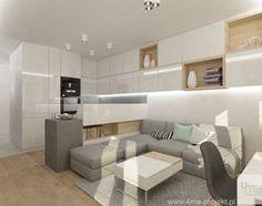 Projekt mieszkania w Pruszkowie - pow. 52,5 m2. - Mały salon z bibiloteczką z kuchnią z jadalnią, styl nowoczesny - zdjęcie od 4ma projekt