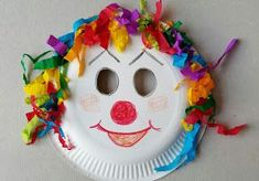 Basteln Karneval Kinder Creative ideas and a collection of my home made decorations. Easy to prepare, handycraft with kids, Kids Crafts, Clown Crafts, Circus Crafts, Carnival Crafts, Carnival Decorations, Carnival Masks, Diy Arts And Crafts, Preschool Crafts, Projects For Kids