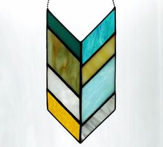 Item 238 Stained Glass Chevron in Neutral & Turquoise Shades