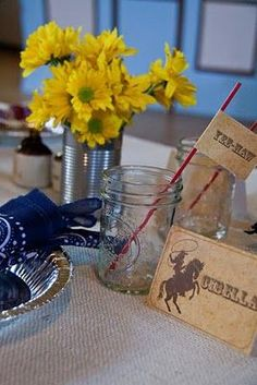 Western Theme Table Setting | western table setting...Eat in the Mess Hall?