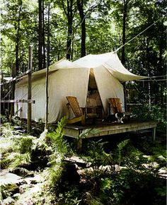 a luxury tent in the woods. you dont need anything but the scenery