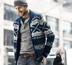 Fall look for my babe, he wouldn't dig the grandpa sweater...but I love this look