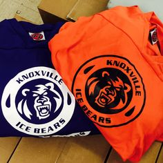Knoxville Ice Bears 1-Color screen printed hockey jerseys