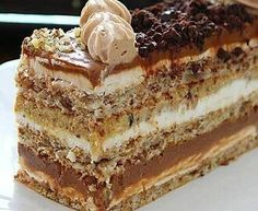 Dobos Torte Recipe, Torte Cake, Baking Recipes, Cake Recipes, Dessert Recipes, Esterhazy Torte, Pizza Snacks, Steamed Cake, Croatian Recipes
