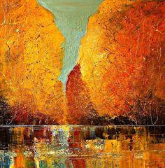 Abstract Palette Knife Oil Painting by Justyna Kopania. CutPasteStudio  Illustrations, Entertainment, beautiful,creativity, Art,Artist,Artwork,nature, oil painting, drawings, Paintings, Vibrant Color.