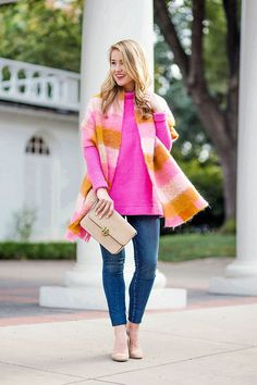 pink check scarf, pink mock neck sweater, sam edelman suede pumps, tory burch suede bag, current elliot jeans, pearl stud earrings | fall fashion | fall style | fashion for fall | style ideas for fall | cool weather fashion | fashion tips for fall || a lonestar state of southern #fallstyle #scarvesforwomen #pink