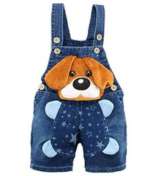Kidscool Baby Summer Cotton Denim 3D Cartoon Yellow Dog Soft Short Overalls * See this great product.Note:It is affiliate link to Amazon.