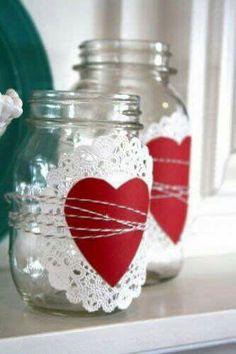 Frascos decorados con papel