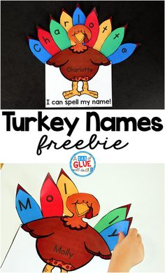 Turkey Names Turkey Names is the perfect fall activity to have preschool and kindergarten students practicing spelling their name. This Thanksgiving printable is editable and free. via A Dab of Glue Will Do Preschool Names, Kindergarten Crafts, Kindergarten Thanksgiving Crafts, Turkey Kindergarten, Fall Preschool Activities, Preschool Curriculum, Kindergarten Fall Art Lessons, Turkey Crafts For Preschool, English Kindergarten