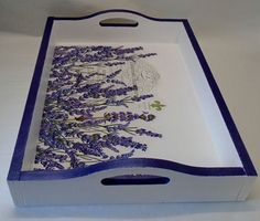 Made To Order Handmade Decoupage Wood Serving Tray Coffee Table Tray Tea Tray French Lavender Paris 15 x 11 x 2 Decoupage Vintage, Decoupage Wood, Decoupage Furniture, Decoupage Ideas, Painted Furniture, Furniture Design, Arte Pallet, Painted Trays, Painted Tables
