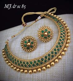 Indian Jewelry Bollywood Wedding Green Gold Plated Necklace Earrings Jewelry set in Jewelry & Watches, Fashion Jewelry, Jewelry Sets Jewelry Design Earrings, Necklace Designs, Gold Jewelry, Indian Jewelry Earrings, Silver Earrings, Jewelry Necklaces, Pandora Jewelry, Indian Jewelry Sets, Indian Wedding Jewelry