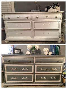 Dresser before and after chalk paint and hardware update