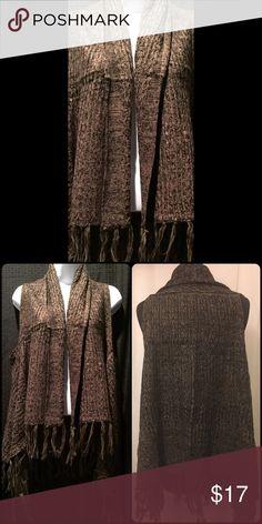 Cardigan Vest NEW! Cardigan vest with fringe, black and taupe. 100% acrylic Sweaters Cardigan