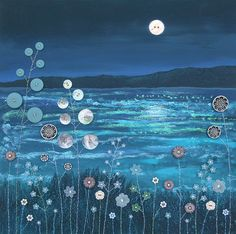 12 x 12 inch canvas print of scene of water at night from an original mixed media painting 'Button Moon' by Jo Grundy - MEDIA ART Mixed Media Painting, Mixed Media Canvas, Mixed Media Art, Painting Collage, Mix Media, Painting Abstract, Acrylic Paintings, Collage Art, Button Moon