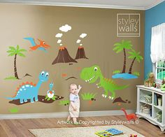 Dino Dinosaurs Land Huge Set Nursery Kid S By Styleywalls On Etsy 178 00 Baby Boy Rooms