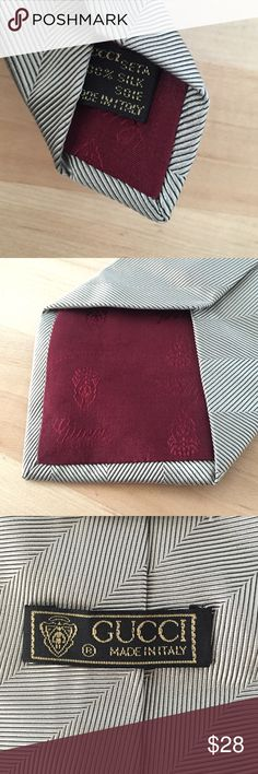 Vintage Gucci Men's Tie vintage, 100% silk, made in Italy, Gucci, silver/gray, burgundy lining Gucci Accessories Scarves & Wraps