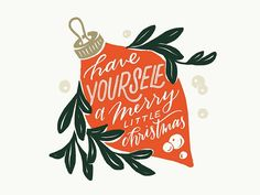 Merry Little Christmas by Whitney Anderson on Dribbble Noel Christmas, Merry Little Christmas, Christmas Design, Christmas Quotes, Winter Christmas, Vintage Christmas, Pink Christmas, Merry Christmas Typography, Christmas Ornaments