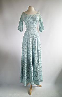 Vintage Blue Wedding Dress ~ Vintage 1950s Blue Wedding Dress ~ 50s Blue Lace Wedding Gown