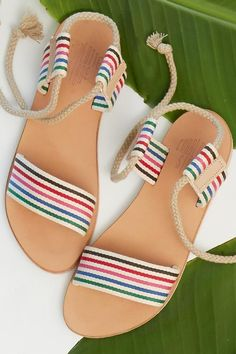 Designer: Charlotte Stone Easy lace up everyday sandals in cotton canvas straps on a leather outsole. By California based designer Charlotte Stone. Striped Sandals, Cute Sandals, Lace Up Sandals, Cute Shoes, Black Sandals, Afro, Mango Shoes, Shoe Pattern, Fashion Sandals