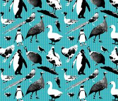 Menagerie of Exotic Birds fabric by primenumbergirl on Spoonflower - custom fabric