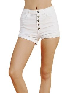 Five Buttons Fly Casual Style Women's White Shorts Plus Size Bottoms on buytrends.com