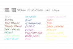 FriXion Color-Pencil-Like Gel Pen writing samples.  To see more FriXion writing samples, click through!