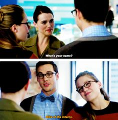 """Mike of the interns"" - Mon-El, Lena and Kara #Supergirl ((Hehehe!))"