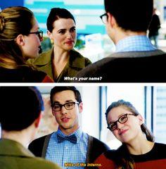 """Mike of the interns"" - Mon-El, Lena and Kara #Supergirl ((Hehehe!))"
