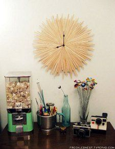 Adorn a clock with coffee stirrers or chopsticks (cleaned)