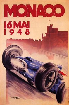 MONACO 16 MAY 1948 CAR RACE GRAND PRIX LARGE VINTAGE POSTER REPRO