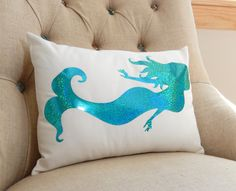 Mermaid Pillow Cover Sparkle Mermaid Pillow by ThePillowCabana