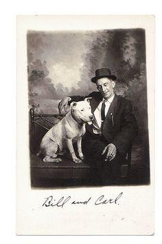 SEATTLE WASHINGTON MAN w BULLDOG - STUDIO rppc Real Photo Postcard